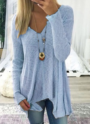 V-Neckline Solid Loose Long X-line Sweaters