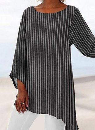 Stripe Casual Round Neckline 3/4 Sleeves Blouses (5243427)