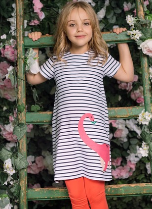 Girls' Stripe Daily Short Sleeve Dresses