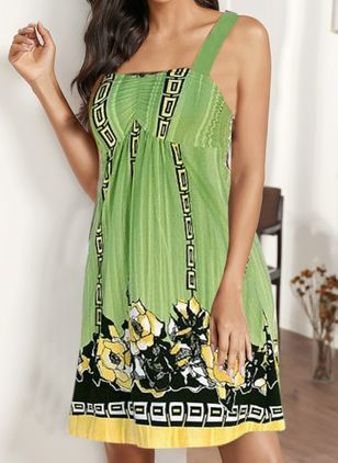 Casual Floral Tunic Round Neckline Shift Dress (146988428)