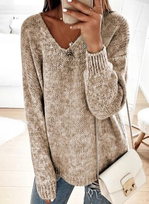V-Neckline Solid Casual Loose Regular Shift Sweaters (146703868)