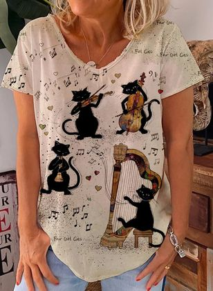 Animal Casual Round Neckline Short Sleeve Blouses (101102515)