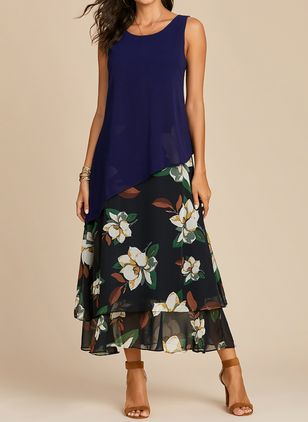 Casual Floral Round Neckline Maxi A-line Dress (1330703)