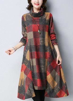 Plaid Ruffles Long Sleeve Midi Shift Dress