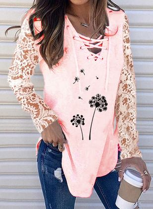 Floral V-Neckline Long Sleeve Casual T-shirts (146664541)