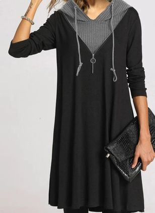 Casual Color Block Round Neckline Above Knee Shift Dress (118207632)