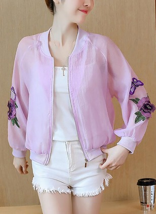 Polyester Long Sleeve Round Neck Zipper Appliques Jackets