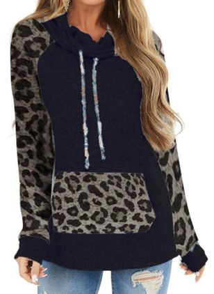 Leopard Casual Draped Neckline Long Sleeve Blouses (146719323)