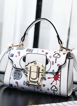 Shoulder Fashion PU Print Double Handle Bags