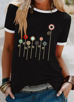 Floral Round Neck Short Sleeve Casual T-shirts (147036451)