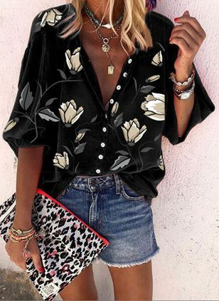 Floral Casual 3/4 Sleeves Blouses (147192615)