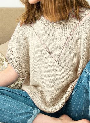 Round Neckline Solid Casual Loose Regular Hollow Out Sweaters (107953112)