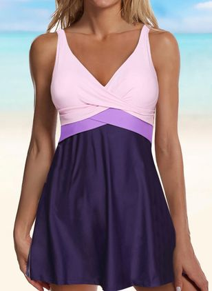Polyester Color Block Knotted Tankinis Swimwear (146993626)