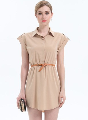 Solid Wrap Wrap Collar Sheath Dress