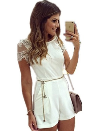 Polyester Solid Cap Sleeve Lace Jumpsuits & Rompers