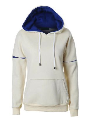 Solid Casual Hooded Pockets Sweatshirts (146876653)