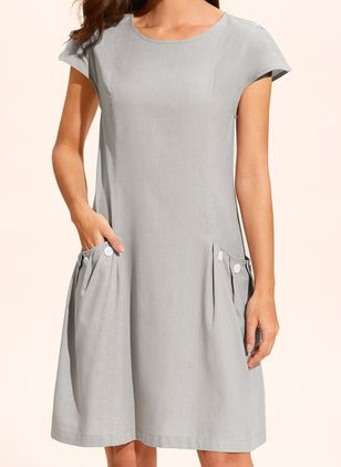 Casual Solid Round Neckline Above Knee Shift Dress (1318678)