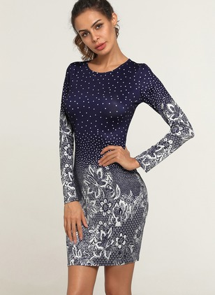 Floral Appliques Long Sleeve Knee-Length Bodycon Dress