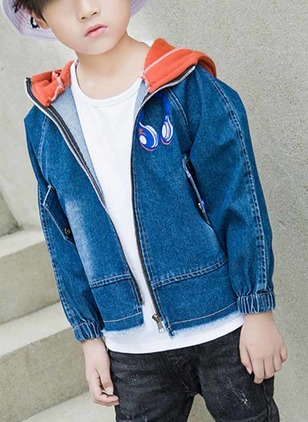 Boys' Casual Patchwork Hooded Coats