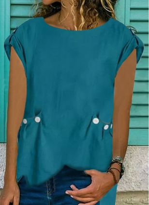 Solid Casual Round Neckline Short Sleeve Blouses (100001790)