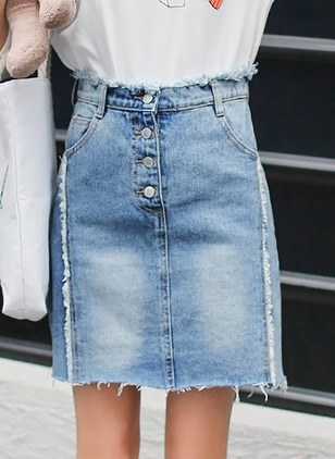 Denim Solid Above Knee Casual Tassel Skirts