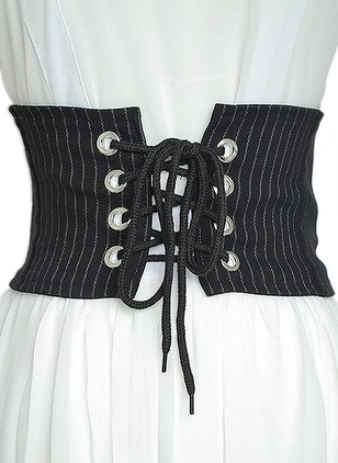 Fabric Lace Zipper Color Block Belts