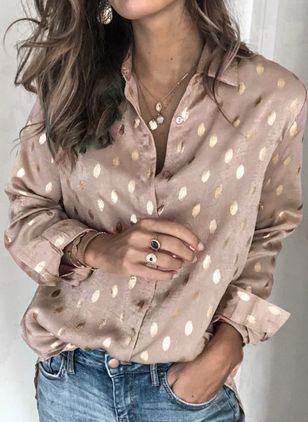 Polka Dot Casual Collar Long Sleeve Blouses (146989400)