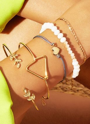 Casual Geometric Heart Gemstone Bangle Bracelets (4073973)