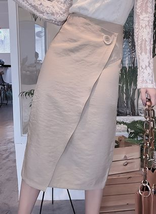 Solid Mid-Calf Elegant Buttons Skirts