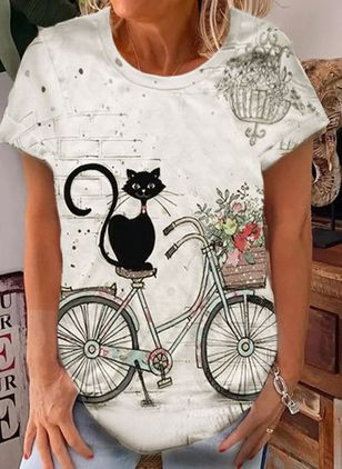 Animal Round Neck Short Sleeve Casual T-shirts (101986341)