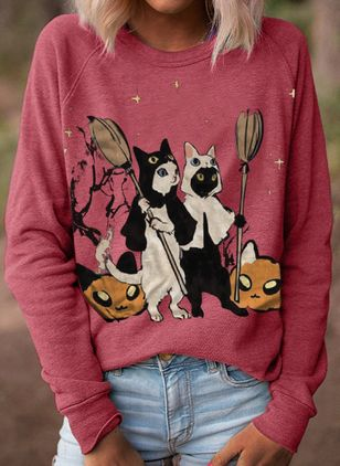 Animal Round Neck Long Sleeve Casual T-shirts (111798670)
