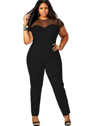 Silk Jute Color Block Short Sleeve Sexy Jumpsuits & Rompers
