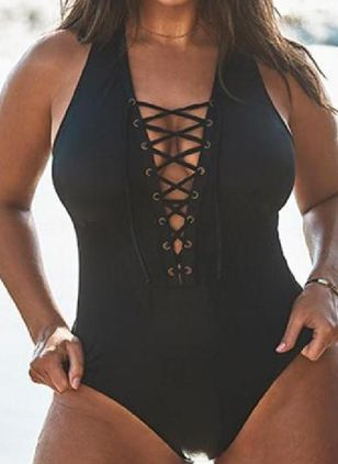Polyester Halter Solid One-piece Swimwear (147004812)