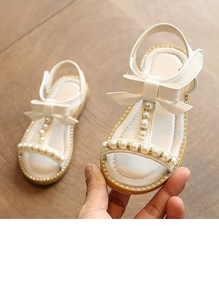 Girls' Bowknot Imitation Pearl Ruched Appliques PU Daily Girls' Shoes