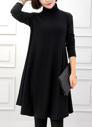 Cotton Solid Long Sleeve Knee-Length Dresses