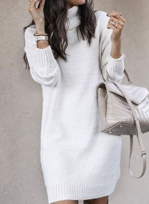 High Neckline Solid Elegant Loose Long Shift Sweaters (107519694)