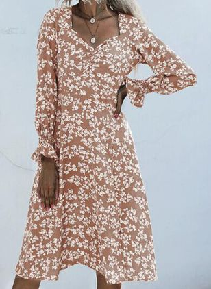 Boho Floral Square Neckline Midi X-line Dress (135452709)