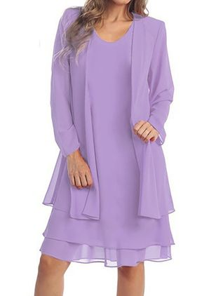 Plus Size Tunic Solid Round Neckline Elegant Wrap Plus Dress (1351000)