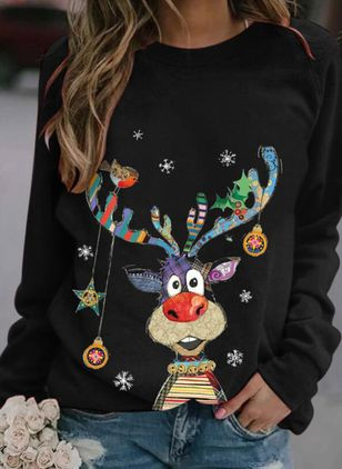 Animal Christmas Round Neckline Long Sleeve Blouses (146679144)