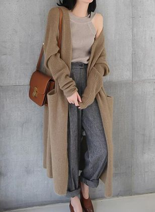 Polyester Long Sleeve Collarless Hollow Out Coats
