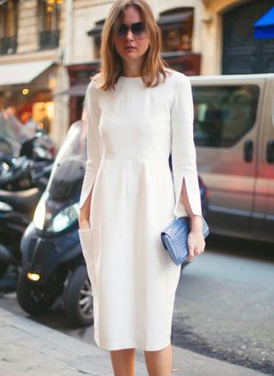 Solid Long Sleeve Knee-Length X-line Dress