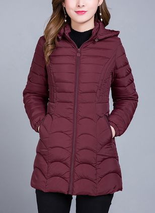 Long Sleeve Hooded Zipper Pockets Padded Coats