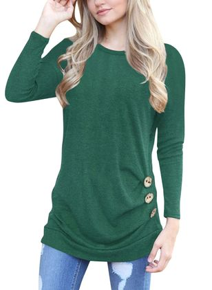 Round Neckline Solid Loose Long Buttons Shift Sweaters