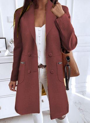 Long Sleeve Buttons Coats (106703484)