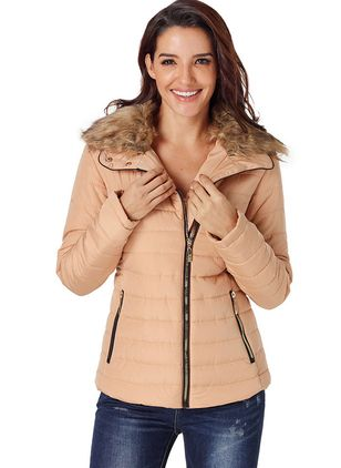 Long Sleeve Collar Zipper Pockets Padded Coats