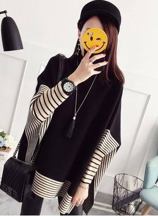 Cotton Round Neckline Solid Cape Loose Others Sweaters