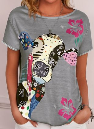 Animal Round Neck Short Sleeve Casual T-shirts (4046952)
