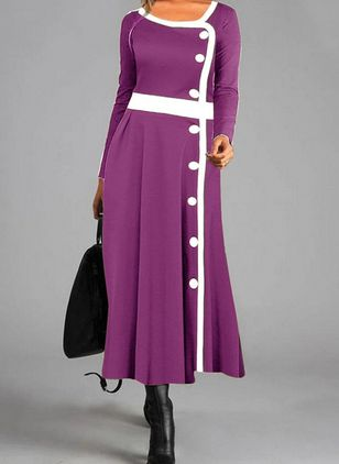Casual Color Block Shirt Round Neckline Shift Dress (108089029)