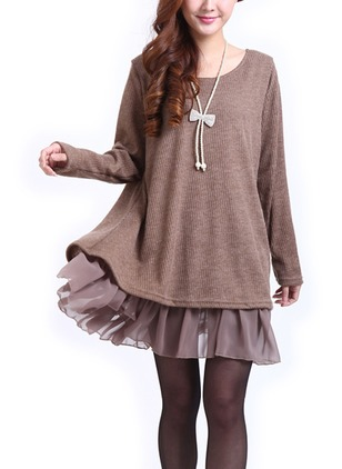 Solid Ruffles Sweater Above Knee Shift Dress