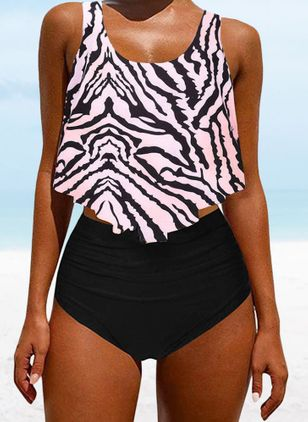 Polyester Color Block Tankinis Swimwear (4663351)